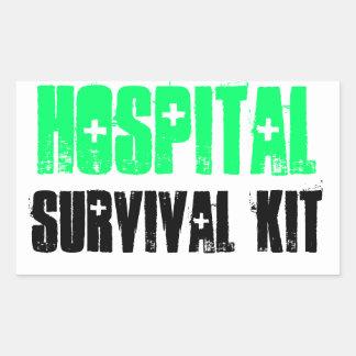 Green and Black Hospital Survival Kit Labels Rectangular Sticker