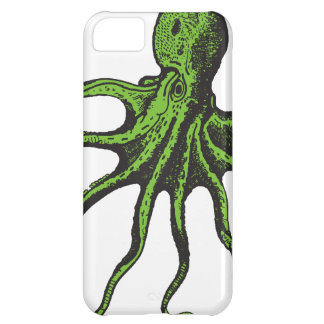Green and Black Illustrated Octopus Cover For iPhone 5C