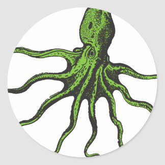 Green and Black Illustrated Octopus Classic Round Sticker