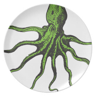 Green and Black Illustrated Octopus Melamine Plate