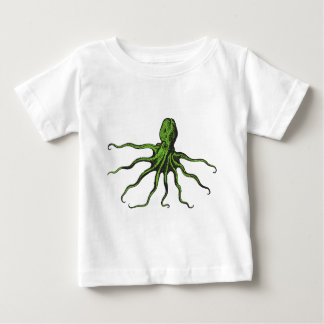 Green and Black Illustrated Octopus T-shirt