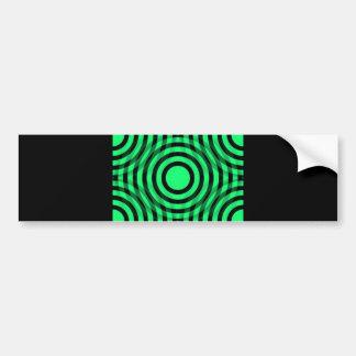 green_and_black_interlocking_concentric_circles etiqueta de parachoque