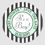 "Green and Black, Its a Boy""  Baby Shower Sticker"