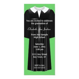 "Green and Black Ladies Graduation Invitation 4"" X 9.25"" Invitation Card"