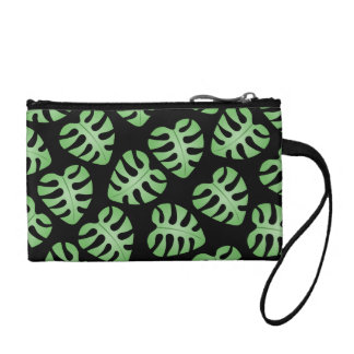 Green and Black Leaf Pattern Change Purses