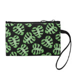 Green and Black Leaf Pattern. Change Purses