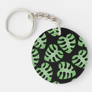 Green and Black Leaf Pattern. Acrylic Key Chain