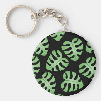 Green and Black Leaf Pattern. Key Chain