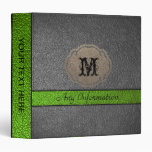 Green and Black Leather 3 Ring Binder