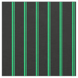[ Thumbnail: Green and Black Lines Pattern Fabric ]