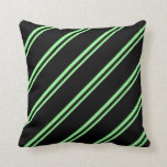 [ Thumbnail: Green and Black Lines Pattern Throw Pillow ]