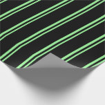 [ Thumbnail: Green and Black Lines Pattern Wrapping Paper ]