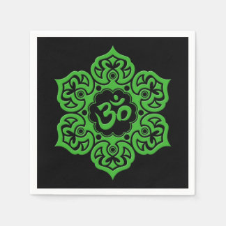 Green and Black Lotus Flower Om Disposable Napkins
