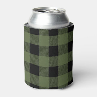 Green and Black Lumberjack Plaid Can Cooler