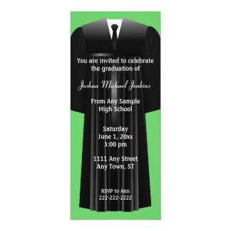 "Green and Black Mens Graduation Invitation 4"" X 9.25"" Invitation Card"