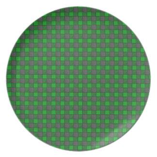 Green and Black Mini Plaid Check Plate