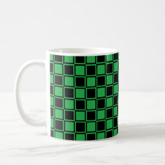 Green and Black Outlined Squares Coffee Mug