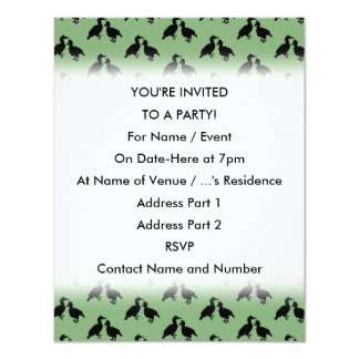 Green and Black Pattern of Birds. 4.25x5.5 Paper Invitation Card