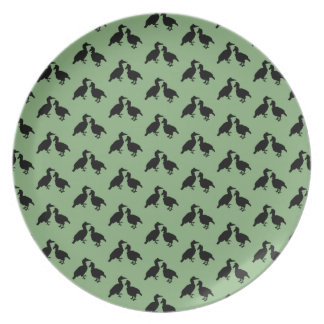 Green and Black Pattern of Birds. Plate