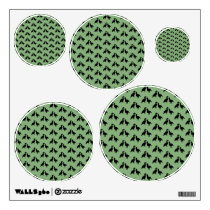 Green and Black Pattern of Birds. Wall Decal