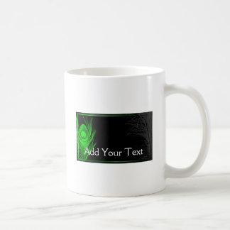 Green and Black Peacock Coffee Mug