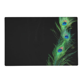 Green and Black Peacock Placemat