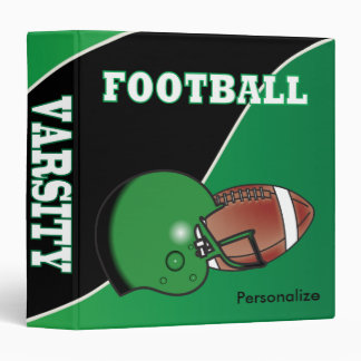 Green and Black Personalize Football Binders