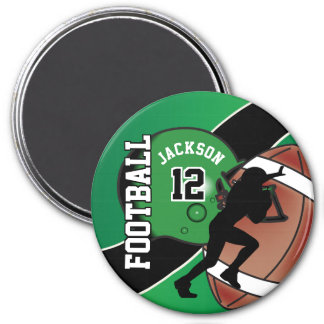 Green and Black Personalize Football Magnet