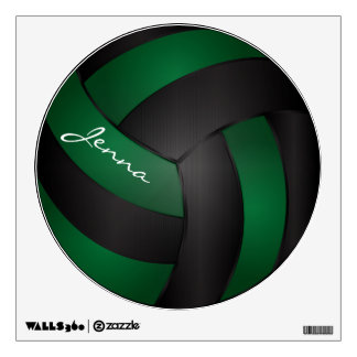 Green and Black Personalize Volleyball Room Stickers