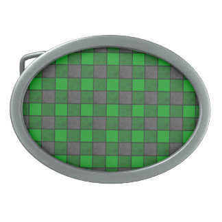 Green and Black Plaid Check Belt Buckle