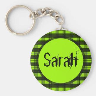 Green And Black Plaid Customizable Keychain