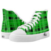 Green and Black Plaid Hi-Top
