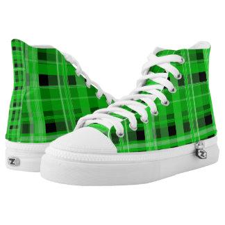Green and Black Plaid Hi-Top Printed Shoes
