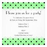 Green and Black Polka Dot Pattern. Custom Invitation