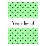 Green and Black Polka Dot Pattern. Invitation