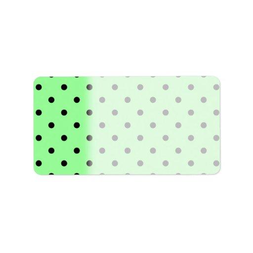 Green and Black Polka Dot Pattern. Labels