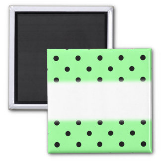 Green and Black Polka Dot Pattern. 2 Inch Square Magnet