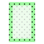 Green and Black Polka Dot Pattern. Stationery Paper