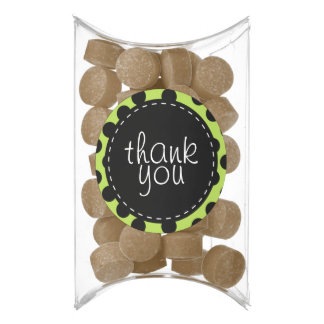 Green and Black Polka Dot Thank You Chewing Gum Favors