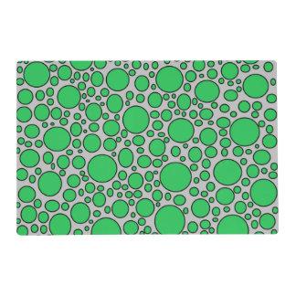 Green and Black Polka Dots Grey Laminated Placemat