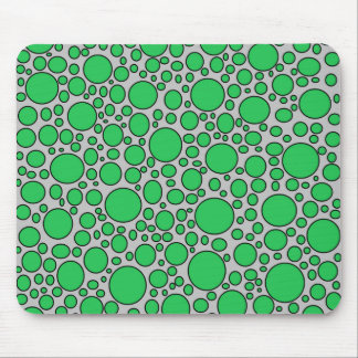 Green and Black Polka Dots Grey Mousepad