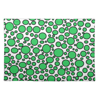 Green and Black Polka Dots Placemat Cloth Place Mat