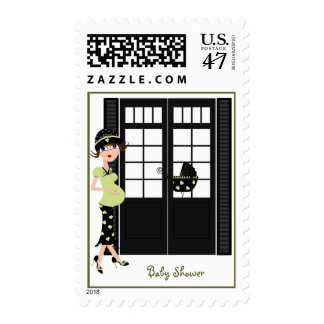 Green and Black Pregnant Lady Postage Stamps
