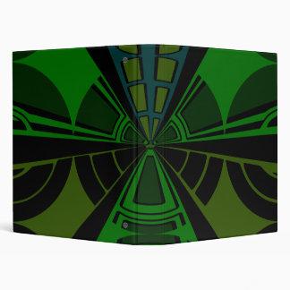 Green and black rectangle design 3 ring binder