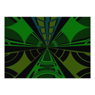 Green and black rectangle design invites