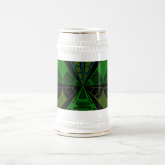 Green and black rectangle design 18 oz beer stein