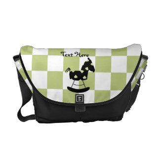 Green and Black Rocking Horse Messenger Bag