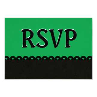 Green and Black RSVP Hearts Scalloped Lace V02 Card