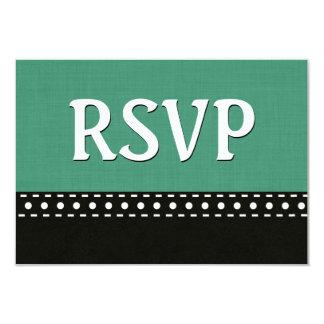 Green and Black RSVP Stitches Polka Dots V10K Card