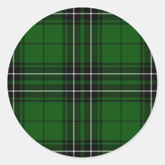 Green and Black Scottish Clan MacLean Tartan Classic Round Sticker
